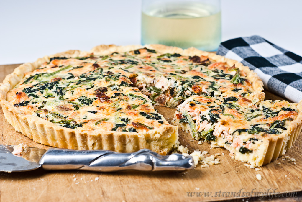 Salmon and Spinach Quiche - gluten-free & low FODMAP