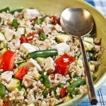 Chicken feta brown rice salad
