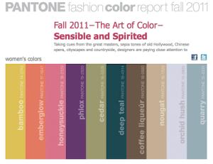 Fall 2011 fashion trend colors - Pantone Fashion Color Report Fall 2011