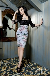 Deadly Dames Je T'Adore Dress in Victorian Rose print
