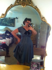 Blue Taffeta and Velvet Dress