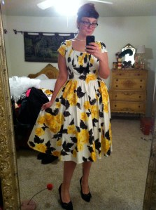 Pinup Couture Evelyn dress in yellow rose print
