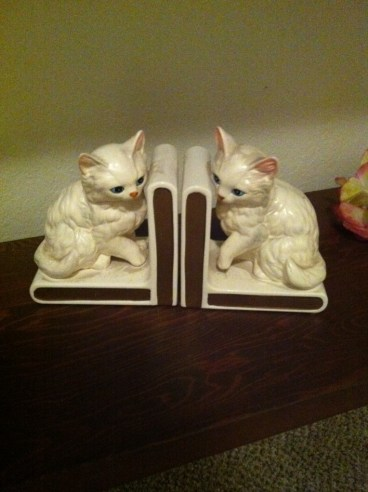 Cat bookends by Lefton Japan
