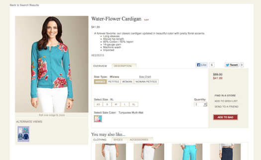 Talbots Water-Flower Cardigan
