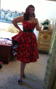 Bettie Page Clothing Poppy Seed Red Circle Dress