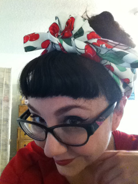 Planet Pinup white cherry hairscarf