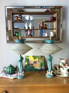 1962 shadow box and 1950s lamps