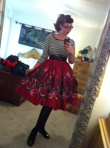 Venetian Jenny Skirt and Striped Boatneck Top