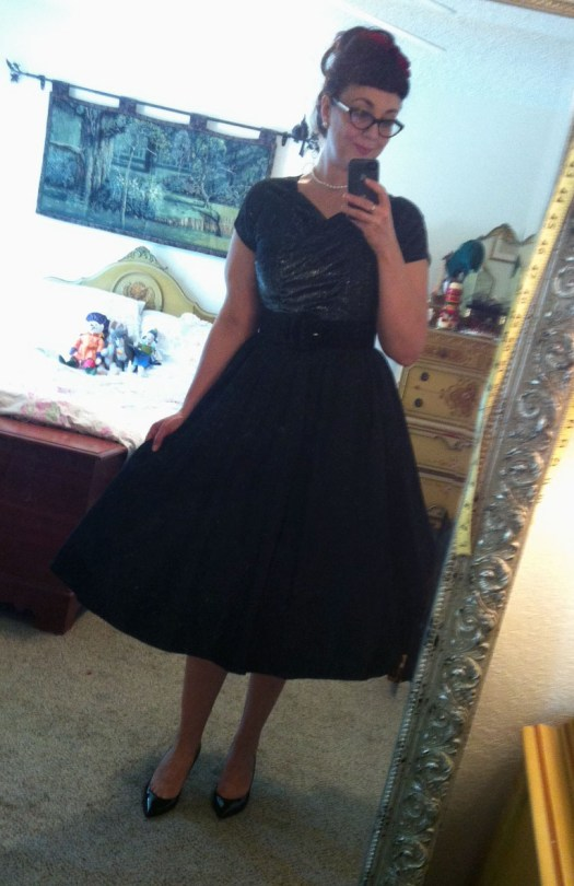 Vintage Lurex and taffeta evening dress