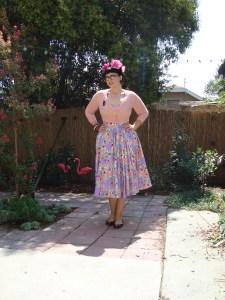 Ella dress in Mary Blair lips and roses print