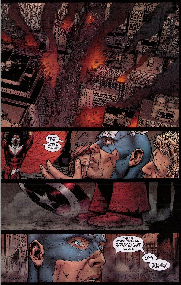 Captain America sees the damage to New York