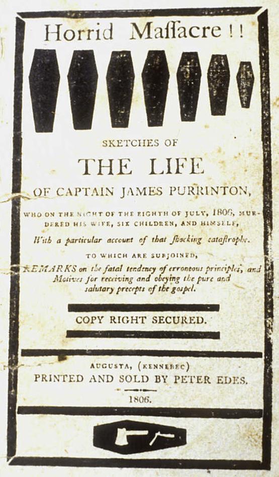 Horrid Massacre - cover of Peter Edes 1806 pamphlet