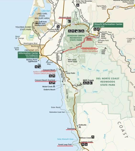 Zemljevid Redwood narodnega parka