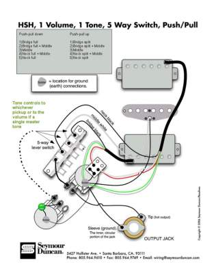 Reference HSH w coil split and tone wiring options