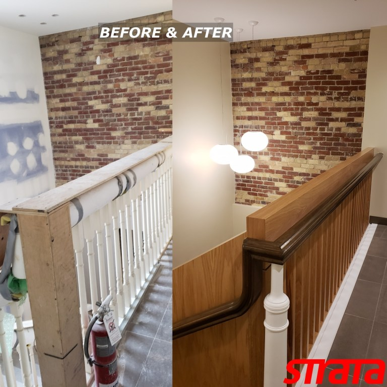 Before and After - Century Heritage Property - Dust Free Stair Refinishing - Railing Renovation - Richmond Hill, Vaughan, York Region