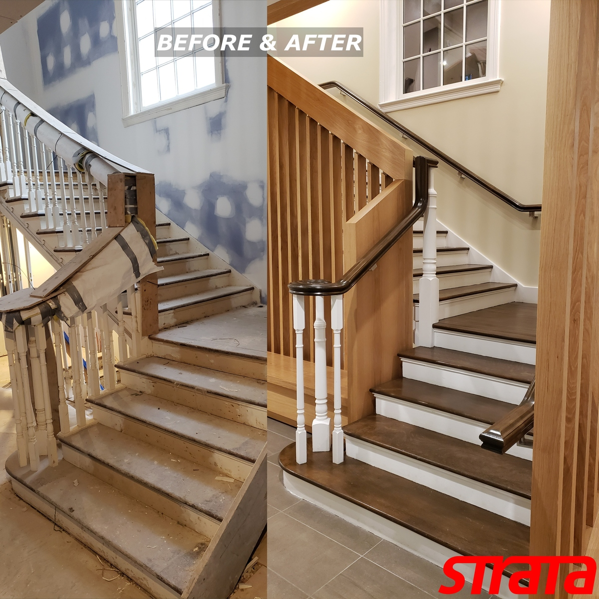 Before and After - Historical Building Heritage Property - Dust Free Stair Refinishing - Railing Renovation - Toronto, Vaughan, Downtown Toronto, Downtown, North York