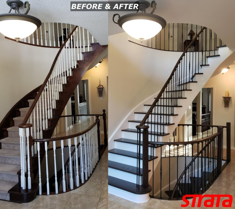 Before and After - Dust Free Popcorn Removal - Stair Refinishing - Railing Renovation - Maple, Vaughan, Woodbridge