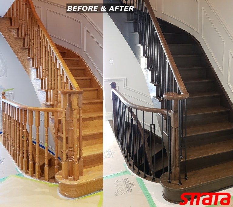 Before and After - Dust Free Stair Refinishing - Railing Renovation - Brampton, Bolton, Kleinbug, Caledon, Woodbridge