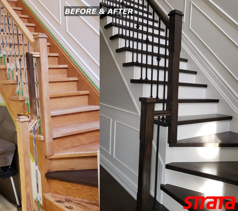Before and After - Dust Free Stair Refinishing - Railing Renovation - Maple, Vaughan, Woodbridge, King City