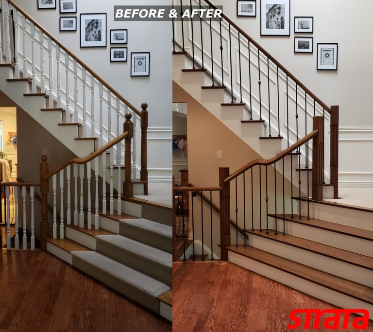 Before and After - Dust Free Stair Refinishing - Railing Renovation - Richmond Hill, Oakville