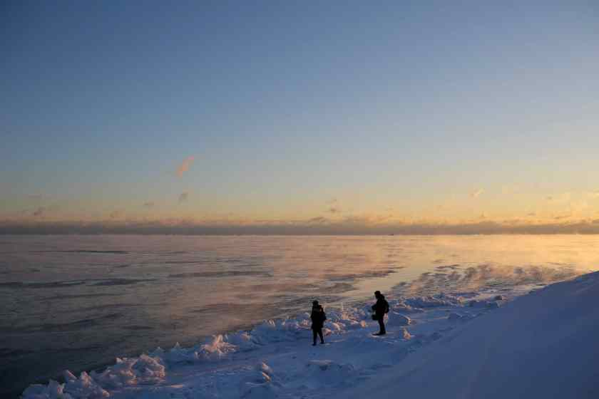 Lake Michigan shore, Chicago, Illinois, USA January 29, 2019