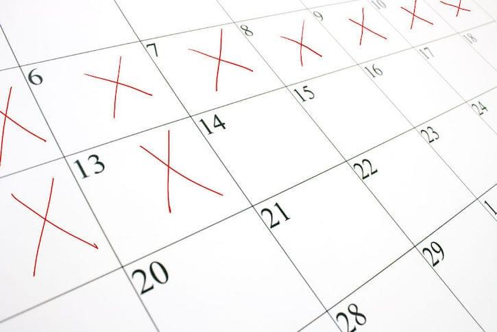 calendar red x