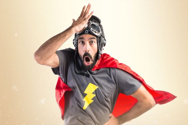 51760822 - superhero doing surprise gesture