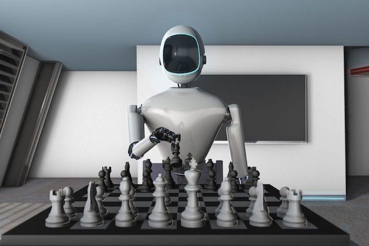 77042970 - a robot plays chess