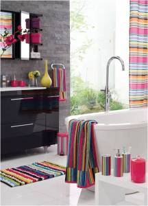 Decorate your bathrooms with these trendy bath mats and rugs Stripes have entered the fashion industry this year  and because we all  like to be in trend  stripped mats for your bathroom will make your space  look