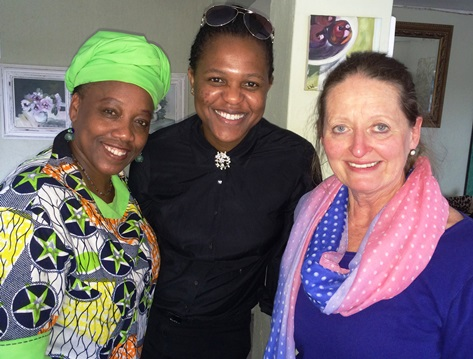 Yaa Ashantewaa, motivational speaker, Buhle Malunga, organiser and Brenda Eckstein.