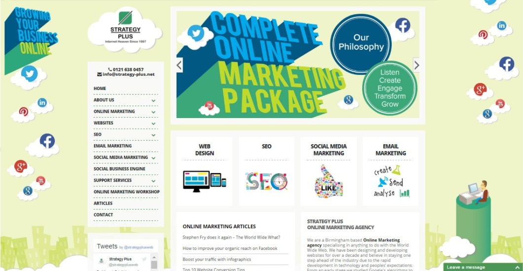 Strategy Plus Homepage Web Design 2015