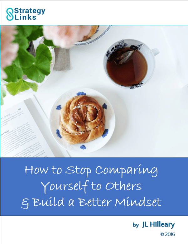 E-book cover with a cup of tea and a pastry, caption How To Stop Comparing Yourself To Others & Build A Better Mindset