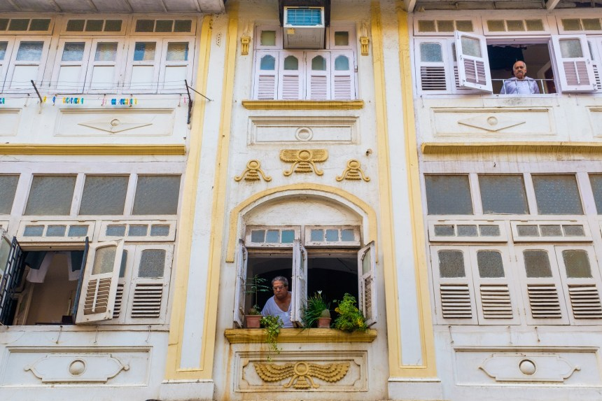 A Parsi residential building in Mumbai bears the winged symbol of the Farohar, an important Zoroastrian religious icon.