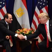 Egyptian President Abdel Fattah al-Sisi (L), shakes hands with U.S. President Donald Trump at the start of a bilateral meeting in New York on Sept. 24, 2018.