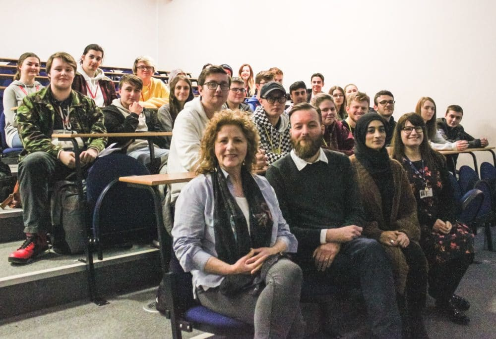 Film and TV editor Beverley Mills with Stratford-upon-Avon College lecturers and students