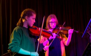 Woy Woy gig night at stratford Music featuring Violin Duet with Alydia.