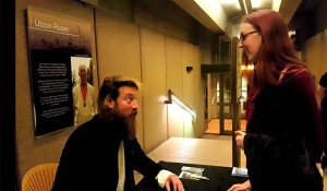 Joep Beving meeting with Madeline Stratford after his performance at Vivid Sydney at the Opera House.