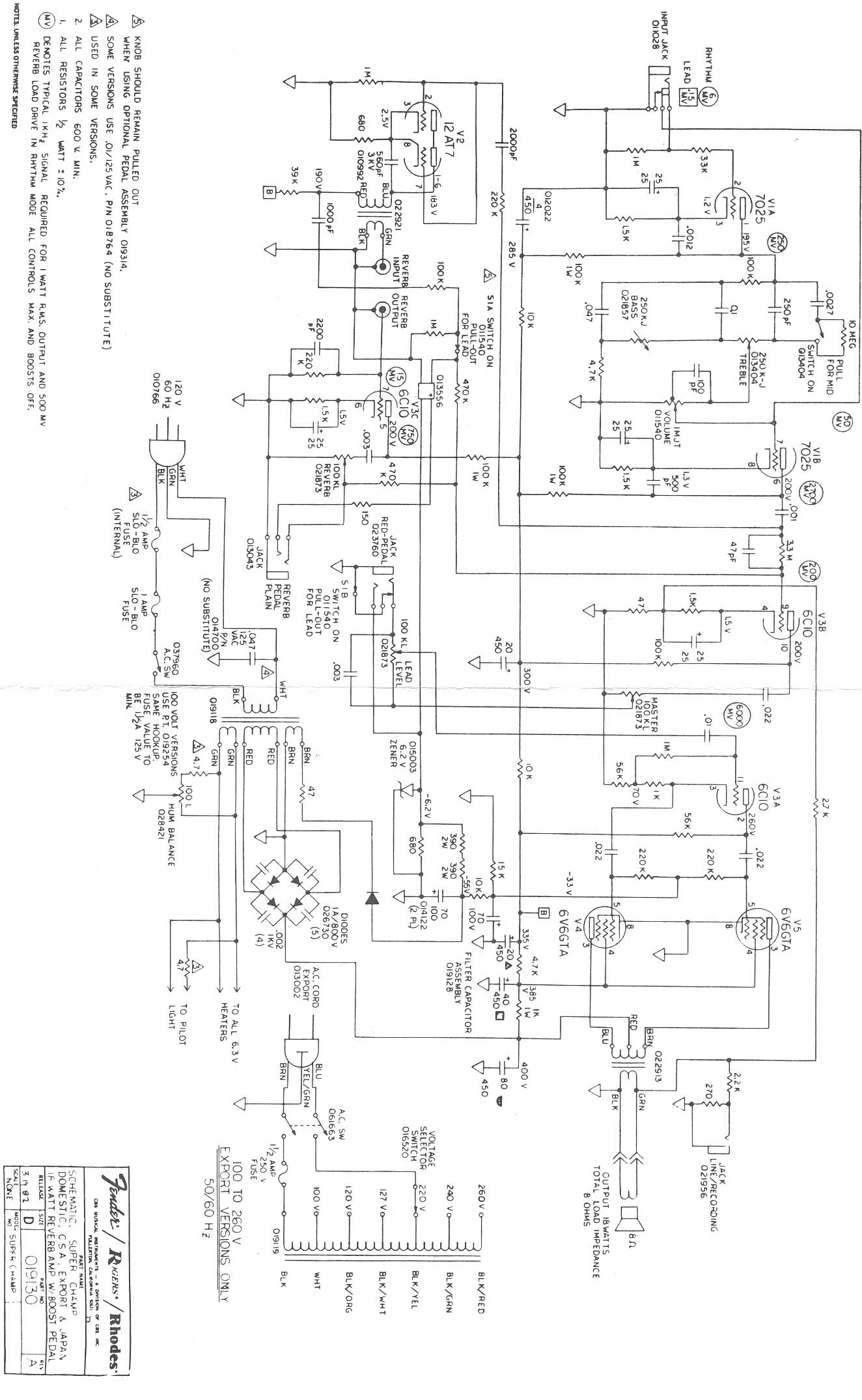 Schematics For Rivera Era Fender Amps