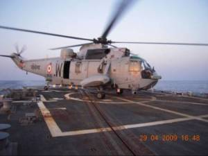 Cross-deck landing operations onboard US naval ship