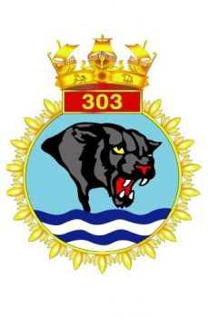 The crest of the 303 Indian Naval Air Squadron of MiG-29 aircaft, also known as the Panthers.