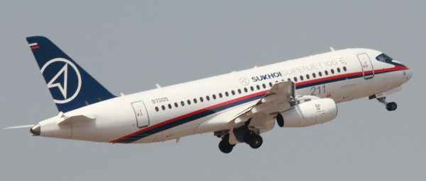 A Sukhoi Superjet 100 aircraft [Reg No. 97005] during a demonstration flight at the Civil Aviation Show at Hyderabad, India in March, 2012 | Copyright: StratPost