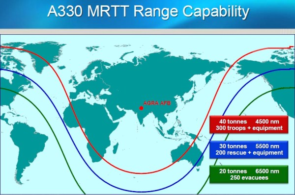 Estimated range of the Airbus A-330 MRTT | Photo: Airbus Military