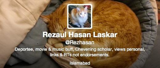 Twitter bio of Rezaul Hasan Laskar