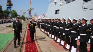 Vice Admiral RK Dhowan inspects a Guard of Honor at the commissioning ceremony | Photo: Indian Navy