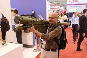 Your correspondent with an Igla, just before collapsing at DefExpo 2012 | StratPost