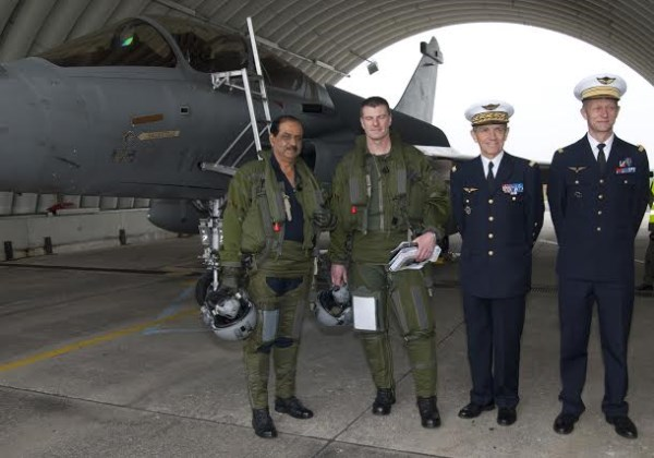 Former IAF chief Air Chief Marshal NAK Browne with the Commander of the Rafale Squadron (Squadron Leader) Kubiak Thierry, General Jean-Paul Paloméros, Chief of Staff of the French Air Force and Col Jean-Pierre Moontegu, Base Commander St. Dizier Airbase, after a one hour sortie in a Rafale during a visit to France in May 2012 | Photo: IAF