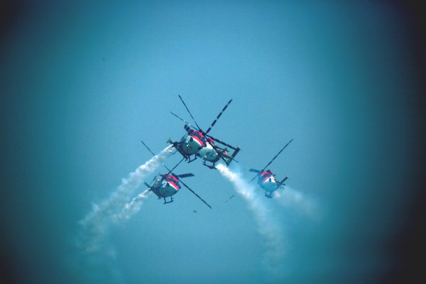 Indian Air Force Sarang Dhruv Advanced Light Helicopter Aerobatics Team | Photo: Saurabh Joshi/StratPost
