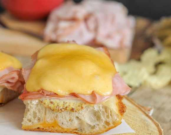 Open Faced Hot Ham and Cheese Sandwiches