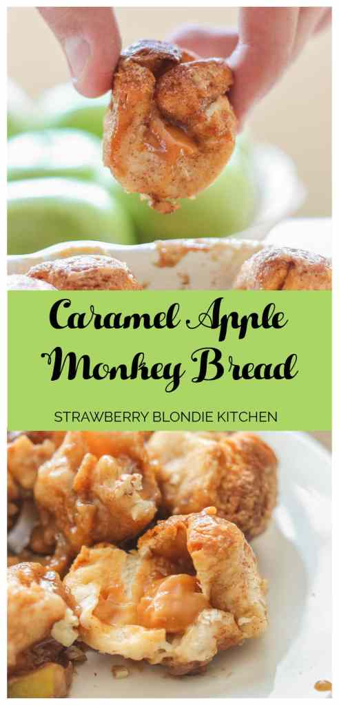 Ooey, Gooey Caramel Apple Monkey Bread is layered with sauteed apples, homemade caramel sauce, cinnamon and pecans. It's a yummy twist on classic monkey bread that'll have you never turning back.   Strawberry Blondie Kitchen