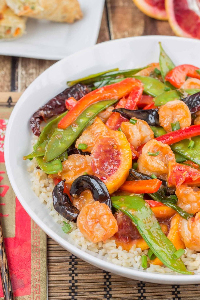 Celebrate Chinese New Year this year with Blood Orange Shrimp Stir Fry. It's a perfect balance of spicy and sweet and a great
